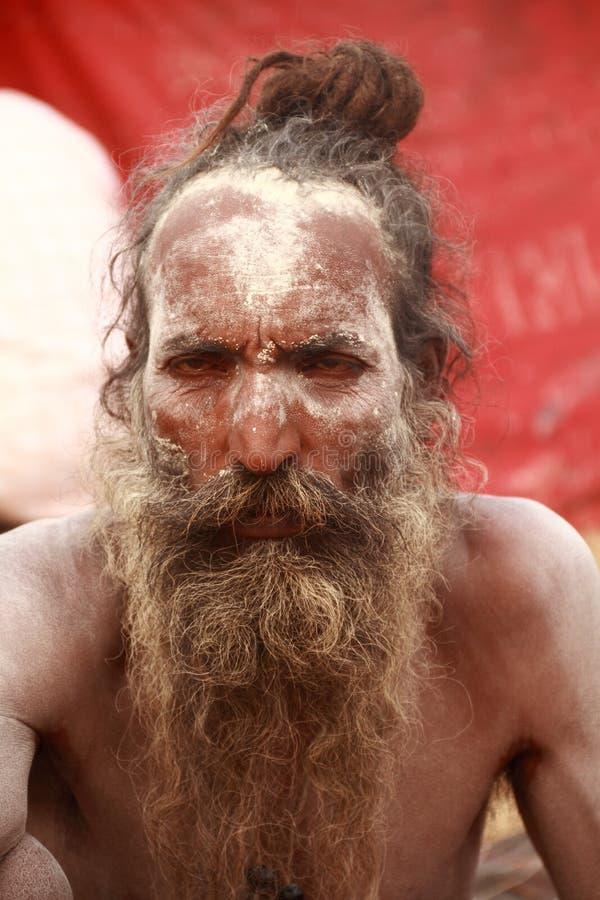 NAGA SADHU, UOMINI SANTI DELL'INDIA fotografia stock libera da diritti