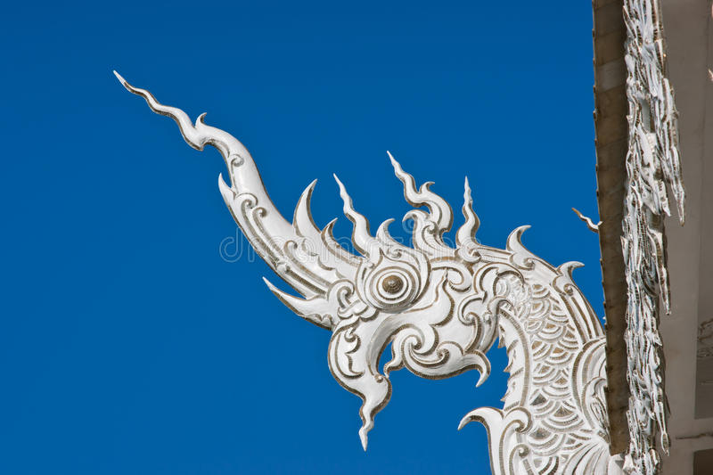 Naga or Snake Dragon head detail in Temple. stock images