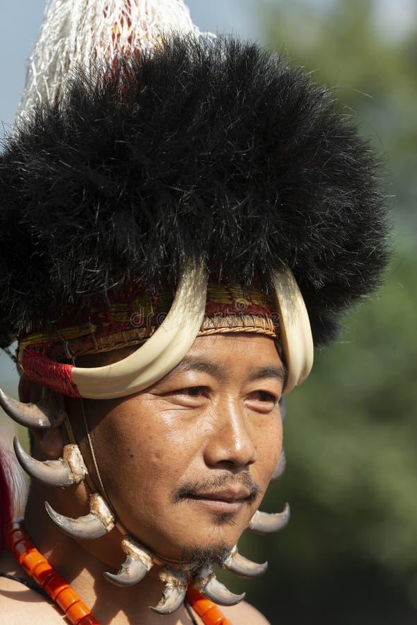 Naga-Stammes- Kriegers-Porträt am Hornbillfestival, Kohima, Nagaland, Indien am 1. Dezember 2013 lizenzfreies stockbild