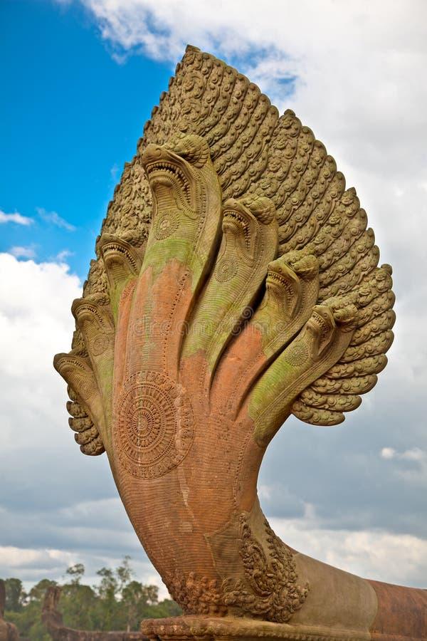 Naga stone statue in Angkor Wat temple, Cambodia. royalty free stock images