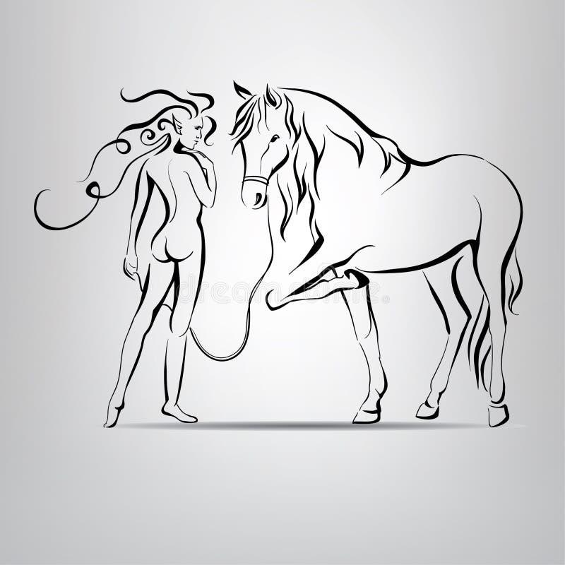 Naga sylwetka dziewczyny odprowadzenie z koniem. wektorowy illustratio royalty ilustracja