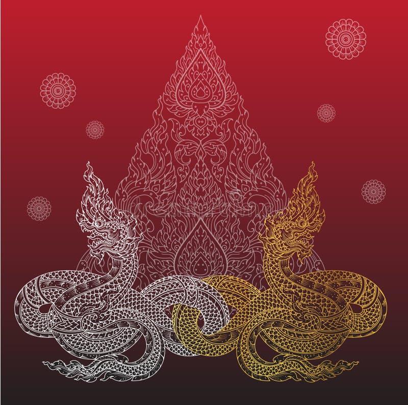 Naga of thai tradition outline. Vector royalty free illustration