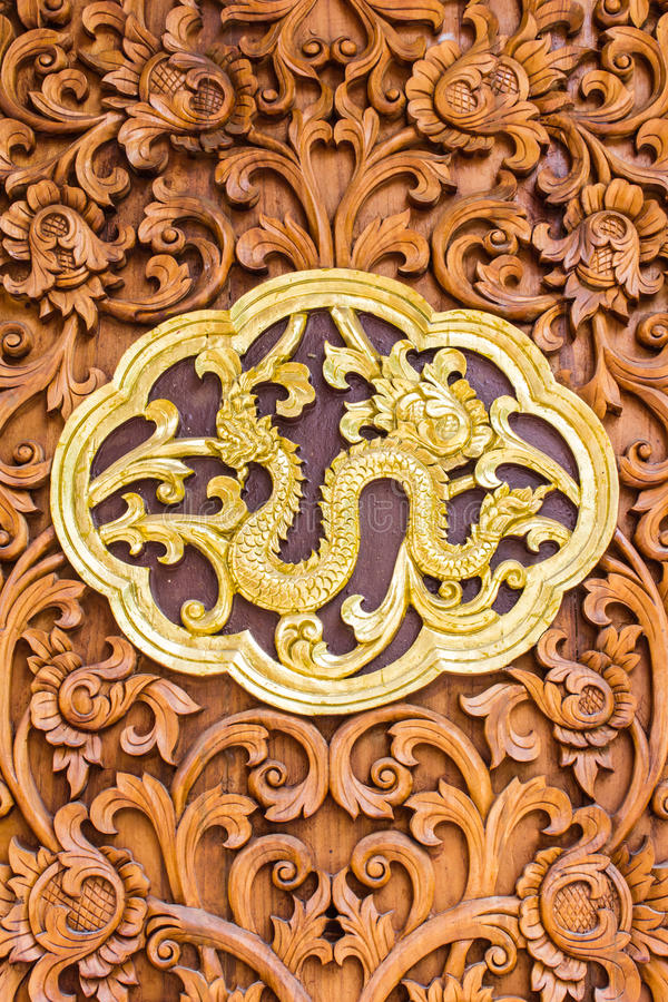 Naga Wood Carving Wall Sculptures In Thai Temple Stock Photo - Image ...