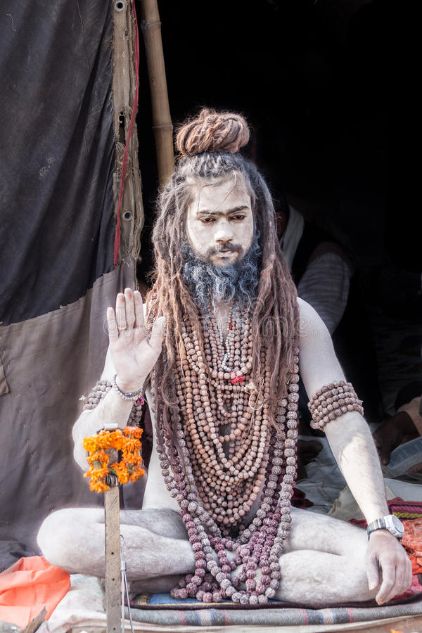 Nagababa in Kumbha Mela royalty-vrije stock afbeeldingen