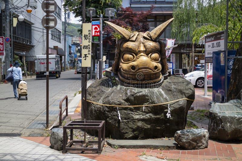 Sculpture of the furious, frenzied lion, Kioi Jishi. Nagano - Japan, June 5, 2017: Sculpture of the furious, frenzied lion, Kioi Jishi, at Akiba Shrine in Nagano royalty free stock photo