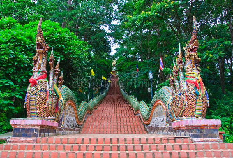 Nagas stairs of Wat Doi Suthep stock images