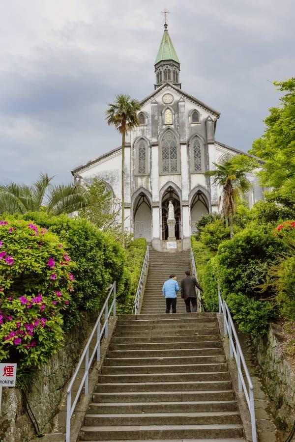 Nagasaki, Japan, en de Kerk van Oura Tenshudo stock foto