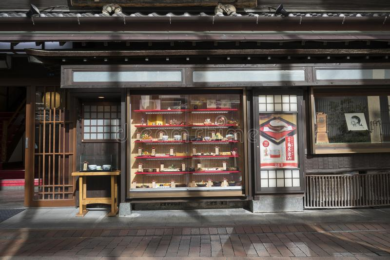Traditional Japanese restaurant with a display of plastic food in Nagasaki stock image