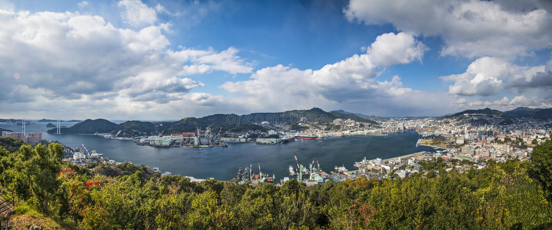 Nagasaki Japan panorama royaltyfri bild