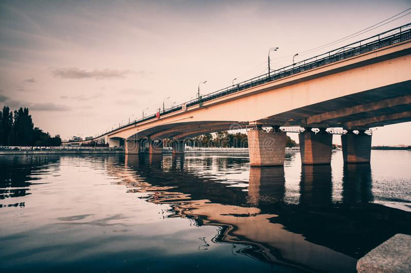 Nagatinsky metro bridge over the Mosocow river, Russia royalty free stock photos
