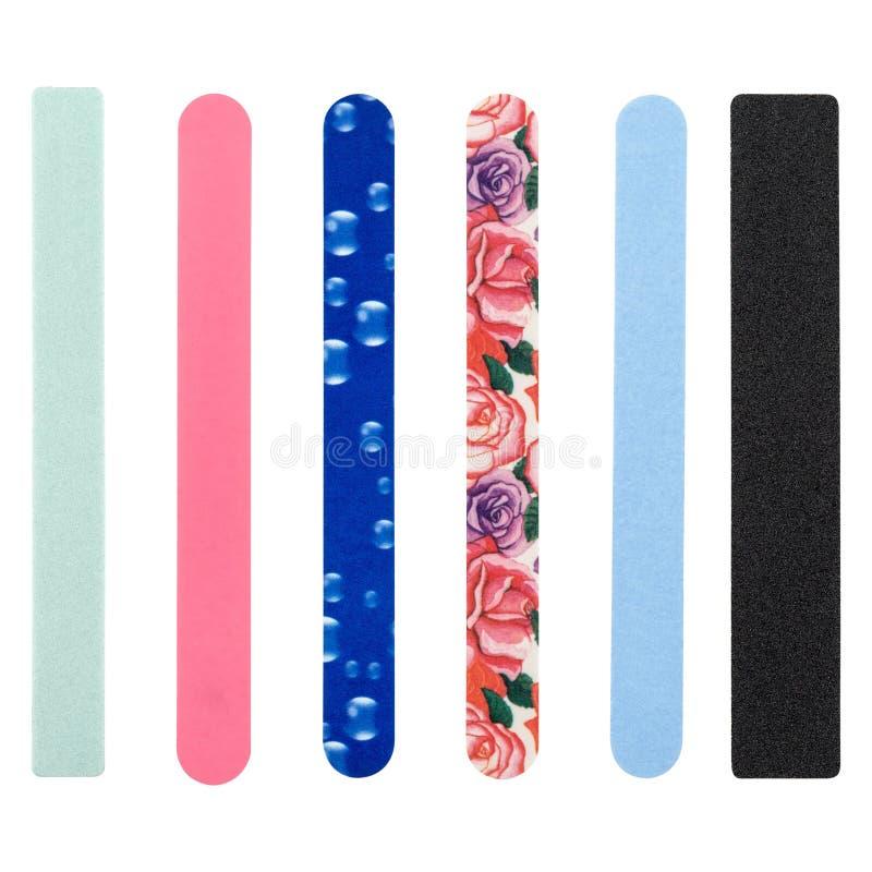 Nagelfeile, von verschiedenen Farben lizenzfreie stockfotos