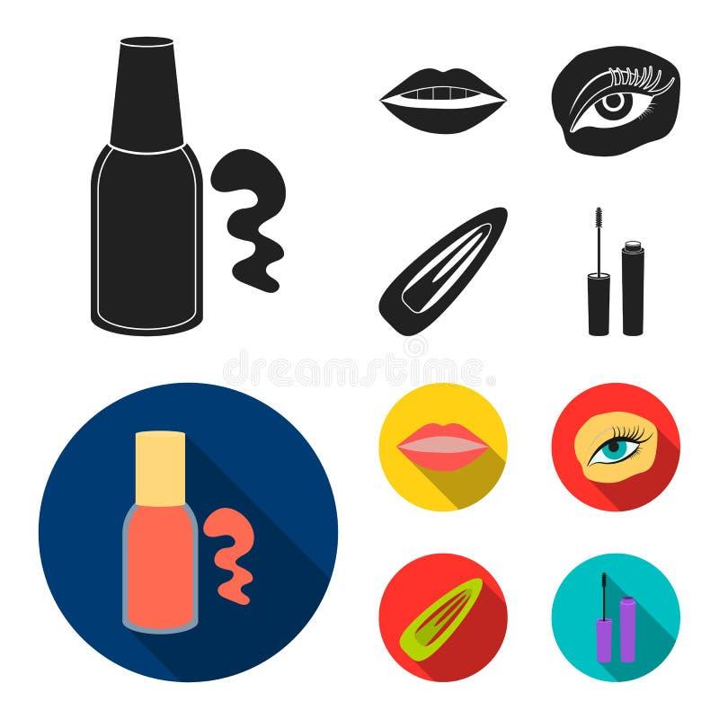 Nagellak, gekleurde wimpers, lippen met lippenstift, haarklem Pictogrammen van de make-up de vastgestelde inzameling in zwarte, v royalty-vrije illustratie