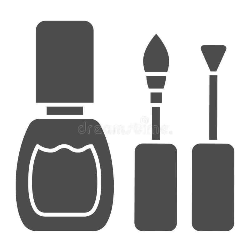 Nagellak stevig pictogram De spijkers poetsen borstels vectordieillustratie op op wit wordt geïsoleerd Het ontwerp van de email g vector illustratie