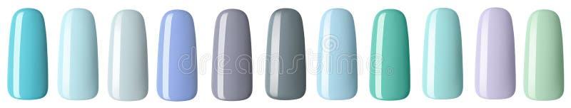 Nagellak in verschillende manierpastelkleur De kleurrijke spijkerlak in uiteinden isoleerde witte achtergrond vector illustratie