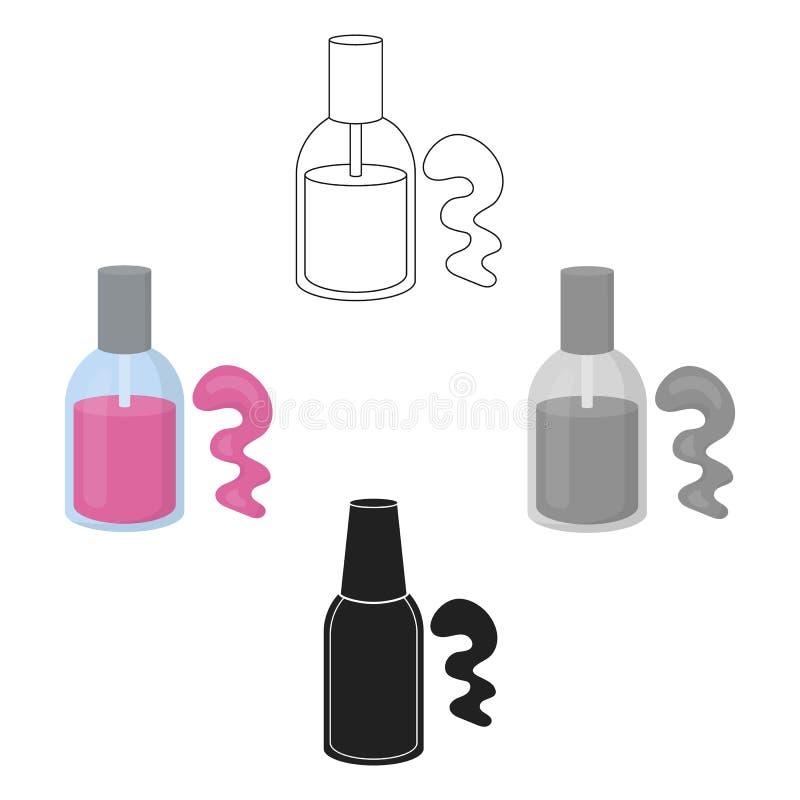 Nagellakpictogram in beeldverhaal, zwarte die stijl op witte achtergrond wordt geïsoleerd Maak omhoog symbool tot voorraad vector stock illustratie