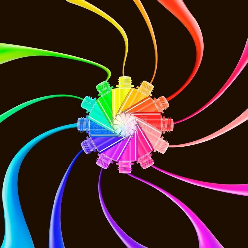 Nagellakplonsen op zwarte achtergrond Nagel art De Kleuren van de regenboog De salon van de schoonheid Het concept van de glamour royalty-vrije illustratie