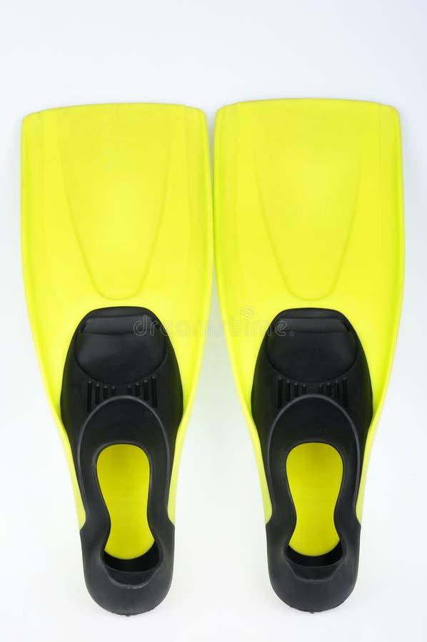 Nageoires jaunes pour la plongée images libres de droits