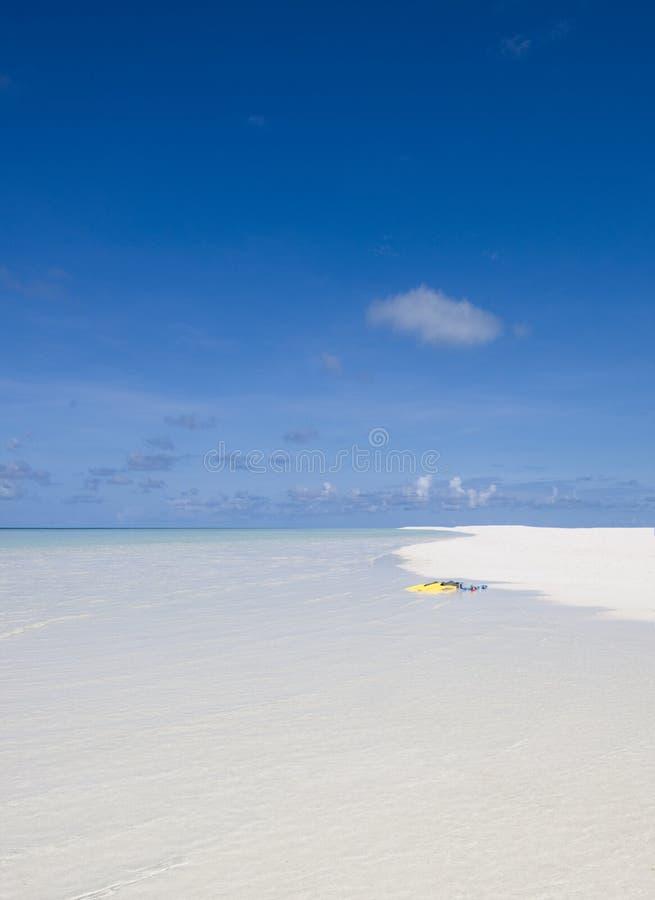 Nageoires jaunes sur la plage maldivienne blanche images libres de droits