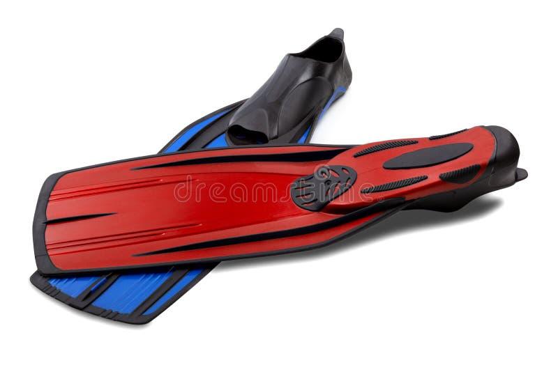 Nageoires rouges et bleues pour la plongée image libre de droits