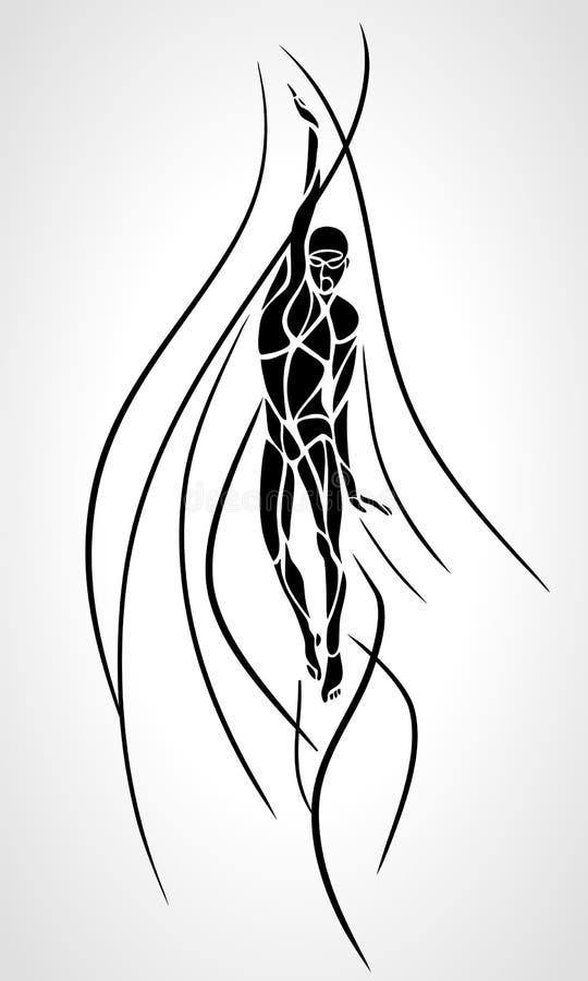 Nageur arrière Silhouette de dos crawlé de rampement Natation de sport illustration stock