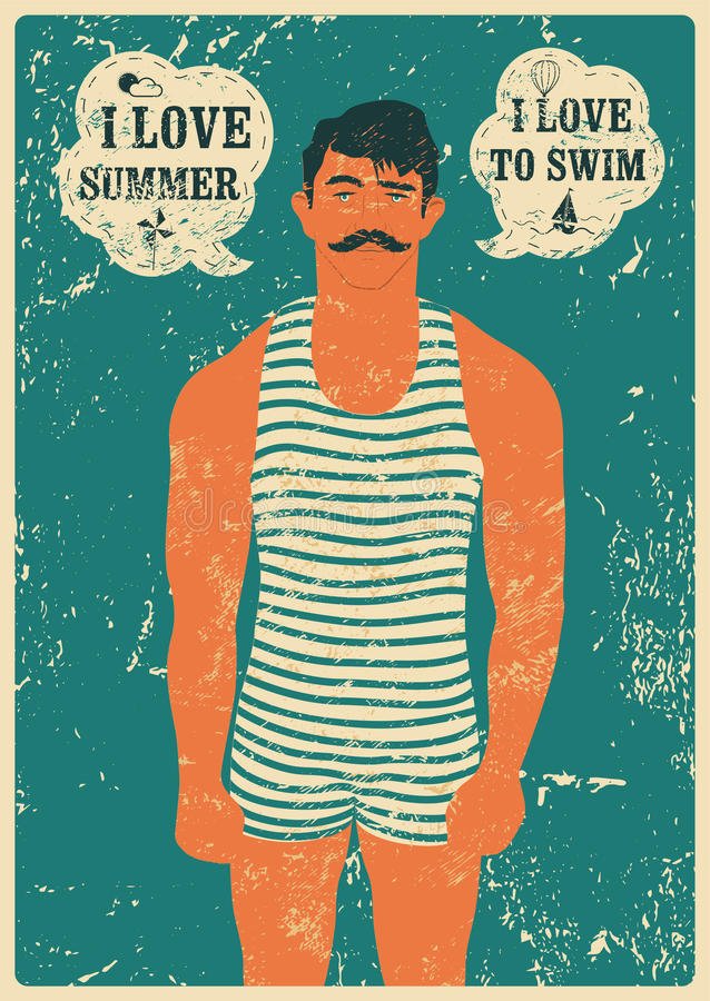 Nageur d'été Conception grunge d'affiche de vintage typographique de natation Rétro illustration de vecteur illustration stock