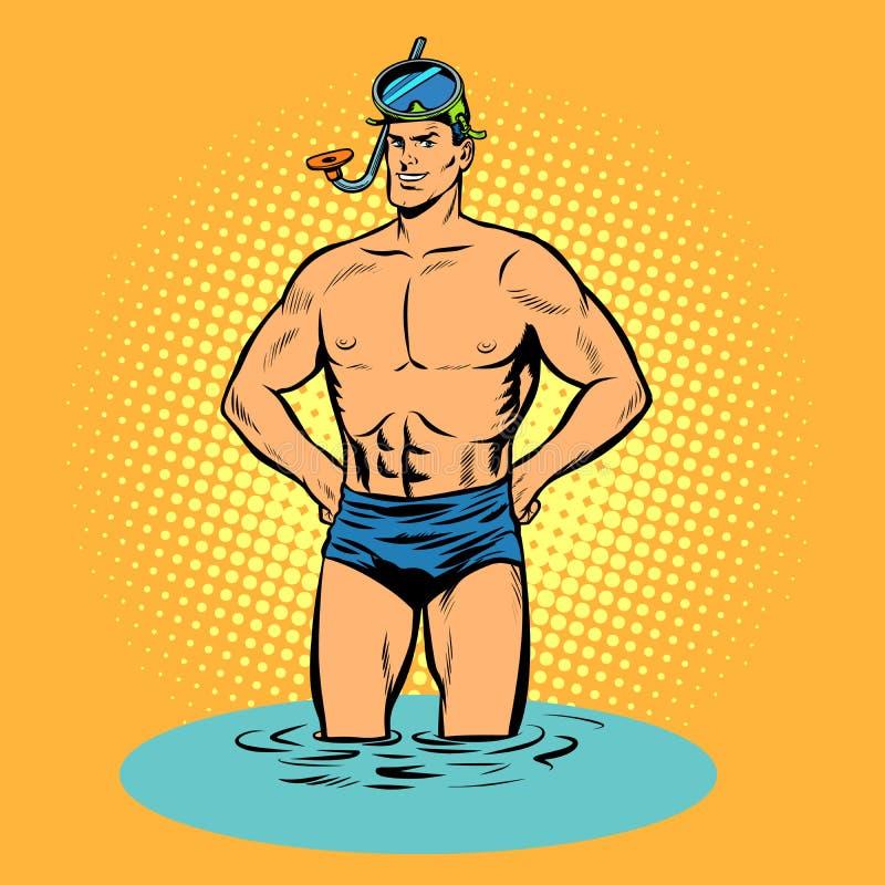 Nageur dans des troncs de natation et masque pour la plongée à l'air illustration libre de droits