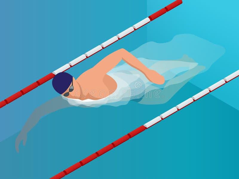 Nageur isométrique Training d'ajustement dans le Ppool de natation Nageur masculin professionnel d'illustration de vecteur illustration libre de droits