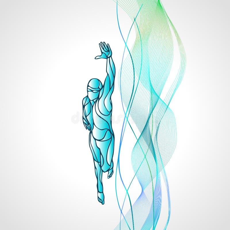 Nageur Silhouette de style libre Athlète de natation de sport illustration libre de droits