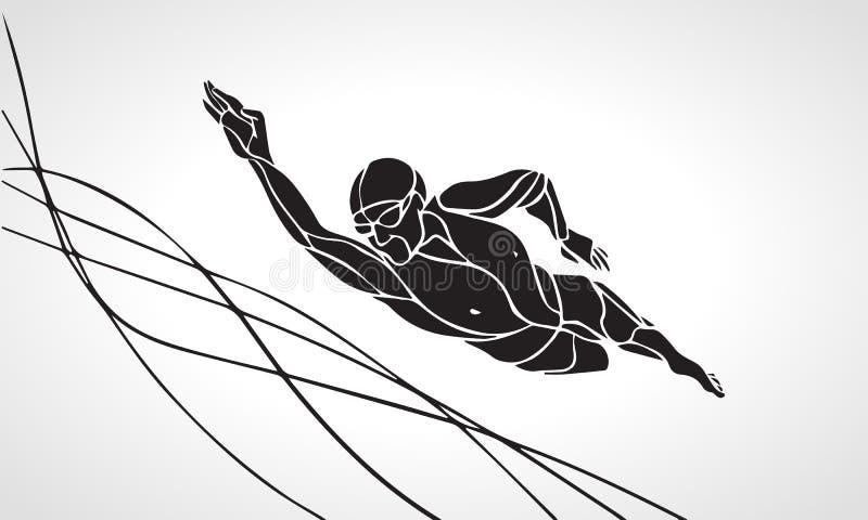 Nageur Silhouette de style libre Natation de sport illustration stock