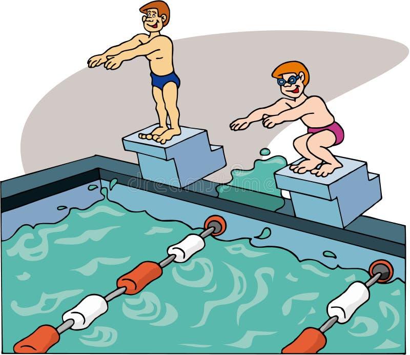 Nageurs nageant illustration de vecteur