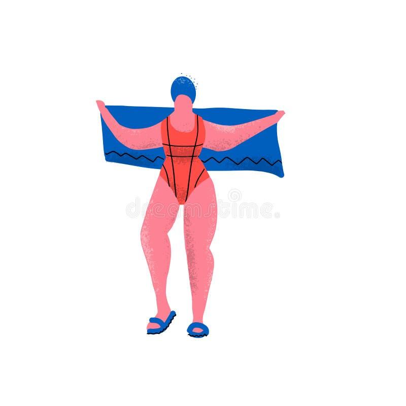Nageuse et choses de fille pour la piscine : maillot de bain, serviette et bonnet de bain Femme plus drôle de taille dans des bas illustration de vecteur