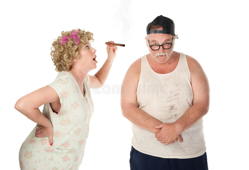 Nagging wife. Bickering wife with cigar confronting husband on white background stock photos