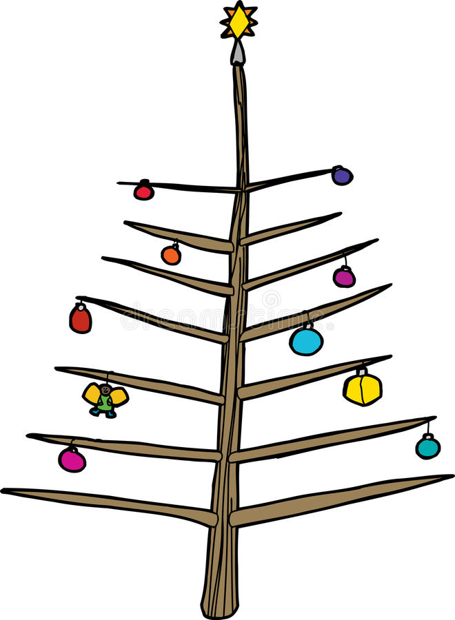 Nagi drzewo z ornamentami ilustracji