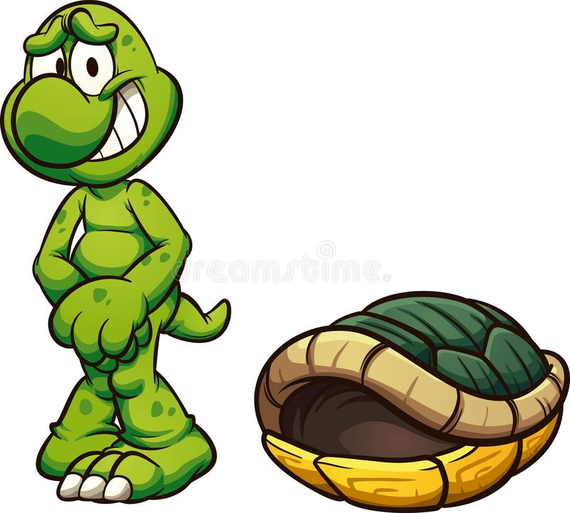 Nagi kreskówka żółw z mnie jest skorupą ilustracji
