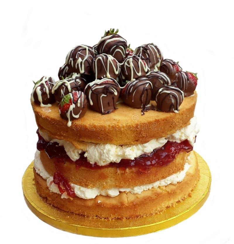 Nagi tort z czekoladowymi truskawkami obrazy stock