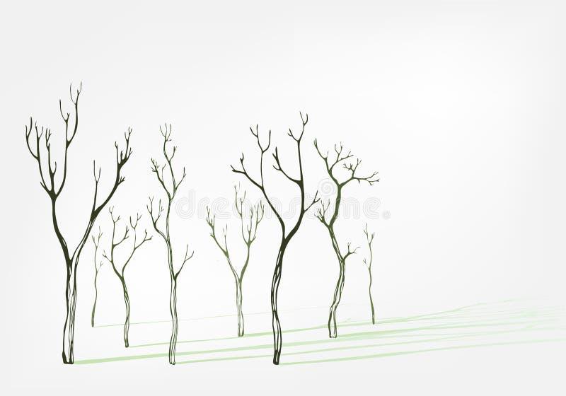 Nagiego drzewa eleganckiego wektorowego tła ustalony cień ilustracja wektor
