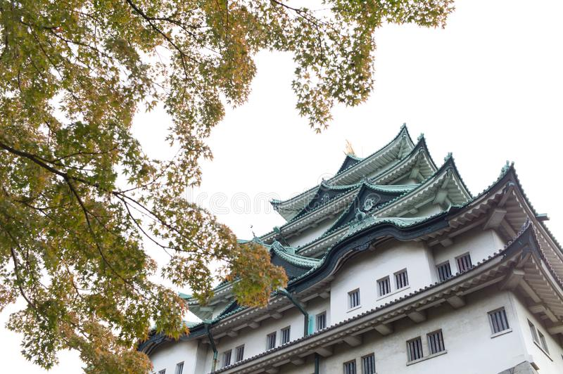 Nagoya Castle in Nagoya, Japan. NagNagoya castle in Nagoya, Japan in autumn with foliage leaves in the foreground royalty free stock photos