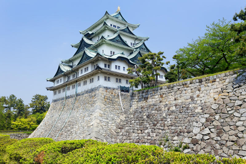 Nagoya castle atop with golden tiger fish head pair called royalty free stock image