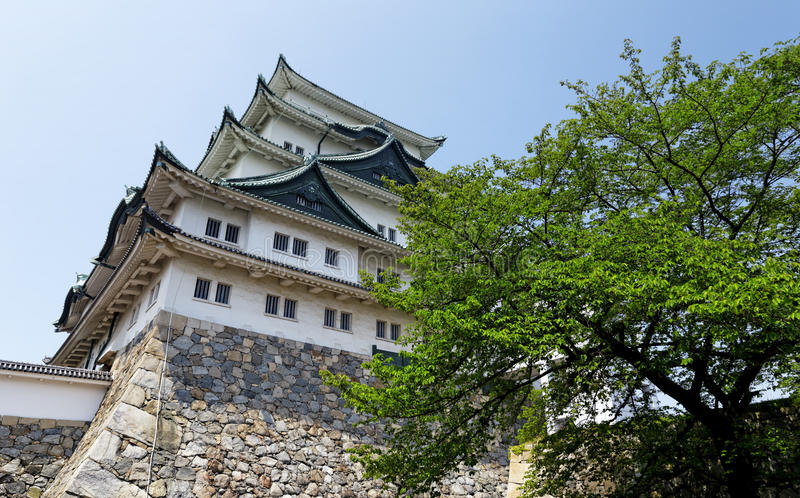 Nagoya castle. Atop with golden tiger fish head pair called King Cha Chi, Japan stock photography
