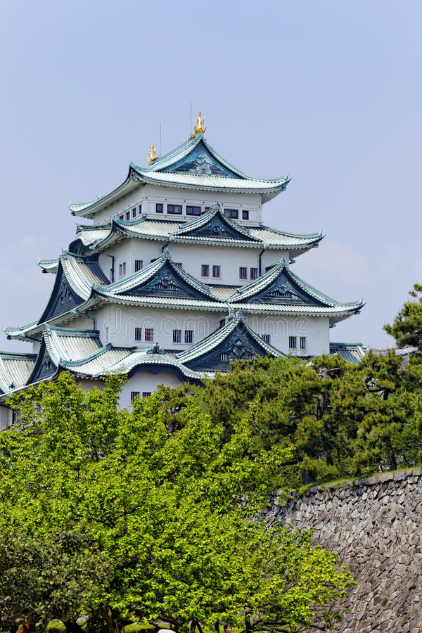 Nagoya castle. Atop with golden tiger fish head pair called King Cha Chi, Japan royalty free stock photo