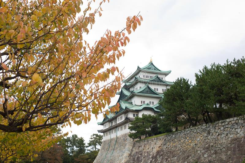 Nagoya Castle in Nagoya, Japan. Nagoya castle in autumn with foliage leaves in the foreground stock photos
