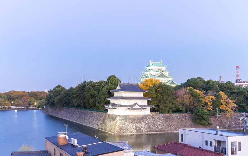 Nagoya Castle. Japan at sunset panorama royalty free stock photography