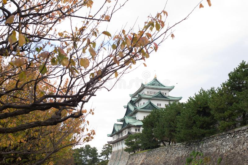 Nagoya Castle in Nagoya, Japan. In autumn with foliage leaves in the foreground stock photos