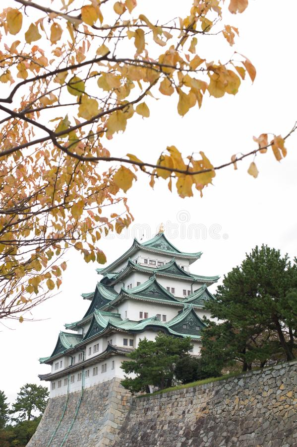Nagoya Castle in Nagoya, Japan. In autumn with foliage leaves in the foreground royalty free stock photo