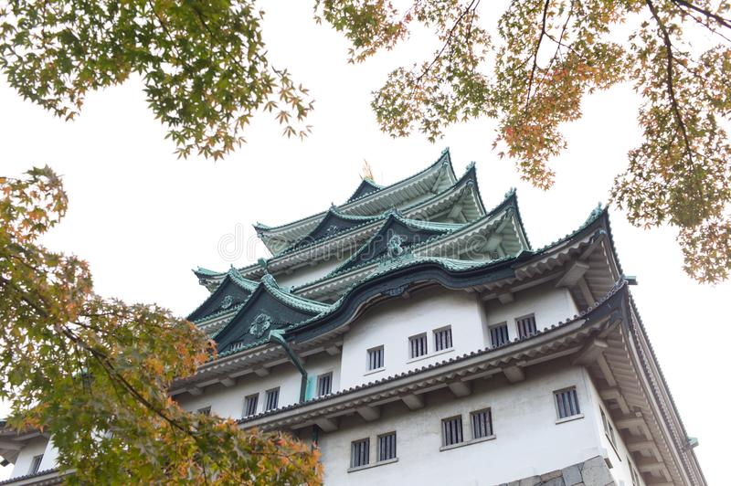 Nagoya Castle in Nagoya, Japan. In autumn with foliage leaves in the foreground stock images