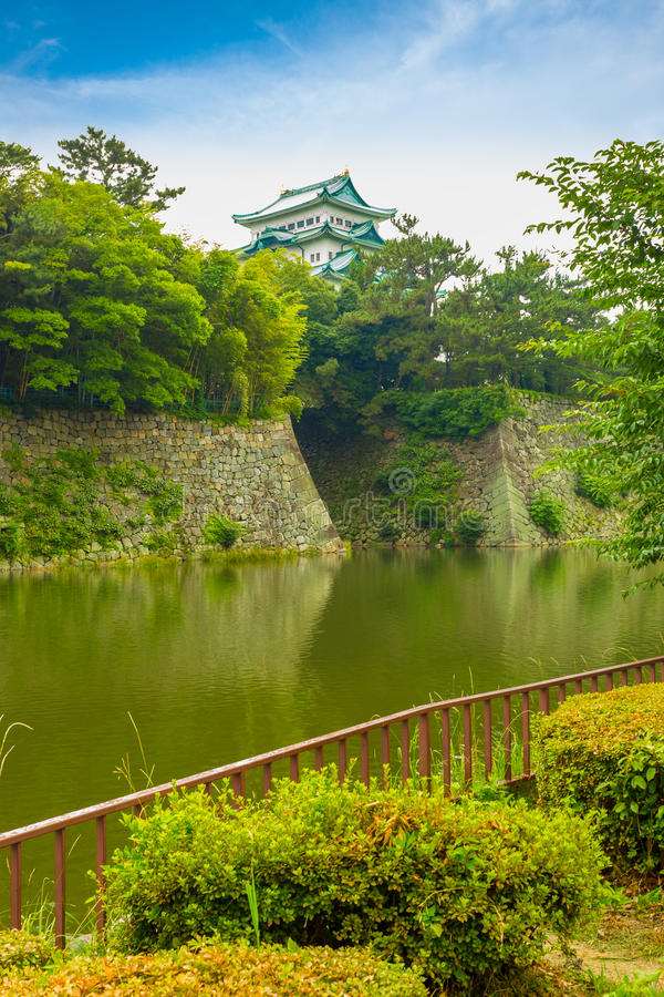 Nagoya Castle Rampart Walls Across Moat Overcast stock images