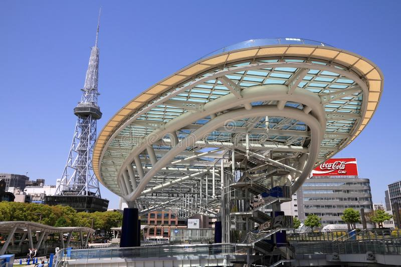 Nagoya city. NAGOYA, JAPAN - APRIL 28, 2012: People visit Oasis 21 bus station and shopping centre in Nagoya, Japan. Nagoya is the 4th largest city in Japan with stock images