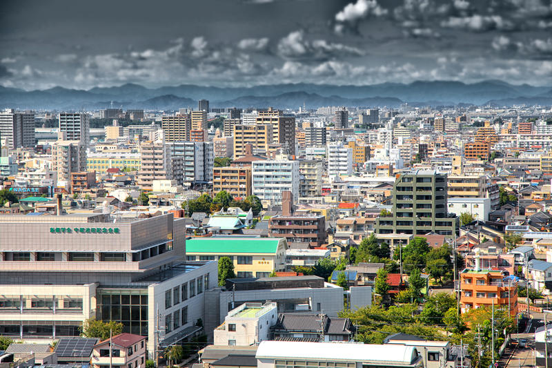 Nagoya city scape in JAPAN. NAGOYA, JAPAN -SEPTEMBER 13: Nagoya cityscape on September 13, 2014,Greater Nagoya is is the hub of Japanese manufacturing industries royalty free stock photo