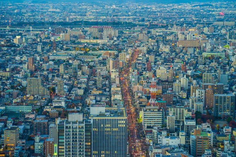 Nagoya cityscape in twilight time, japan.  royalty free stock photo