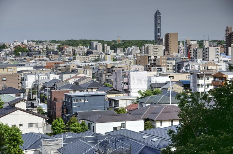 Nagoya, Higashiyama ward, Japan. Aerial view on Nagoya Higashiyama ward with Higashiyama tower, Aichi prefecture, Japan. Nagoya is a 4th biggest Japan city with stock image